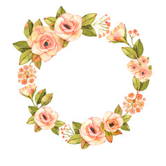 Modern abstract roses flower watercolor wreath