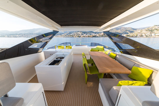 luxury yacht lunch on deck, italian shipyard PERMARE
