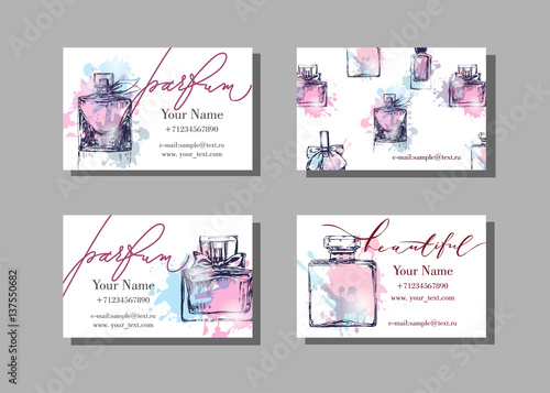 Makeup artist business card vector template with beautiful perfume makeup artist business card vector template with beautiful perfume bottle fashion and beauty background reheart Images