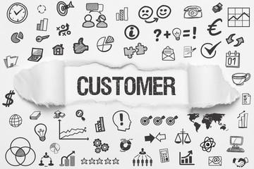 Customer / weißes Papier mit Symbole
