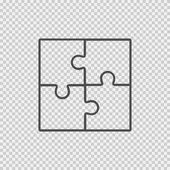 Puzzle vector icon eps 10. Creative group symbol on transparent background. Cooperation.