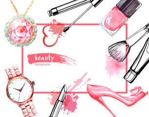 Watercolor Make up artist objects:Jewelry, women's watches, shoes, nail Polish. Vector beauty background.