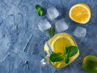 Lemonade with mint in mason jar