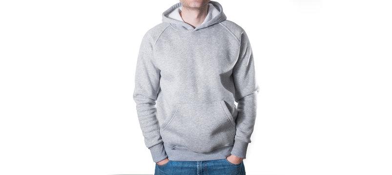man, guy in Blank grey hoodie, sweatshirt, mock up isolated. design presentation.