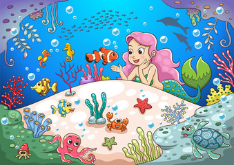 cute cartoon mermaid underwater world