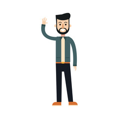 happy young man cartoon icon over white background. vector illustration