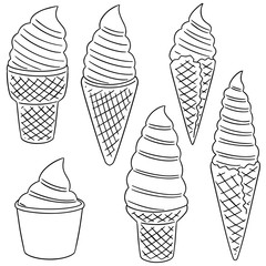 vector set of soft cream