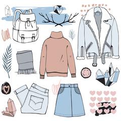 Scandinavian fashion illustration clothing set. Hand drawn objects.