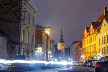 night view of the street, Tallinn