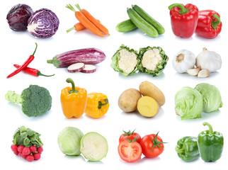 Spoed Foto op Canvas Keuken Gemüse Karotten frische Tomaten Salat Collage Freisteller freigestellt isoliert