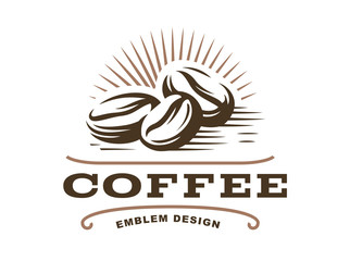 Coffee grain logo - vector illustration, emblem design on white background