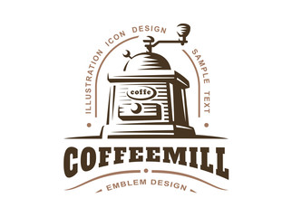 Coffee grinder logo - vector illustration, emblem design on white background