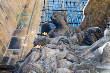 Czech Republic. statue of Saint John of Nepomuk at St. Vitus Cathedral, Prague