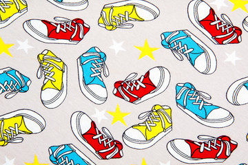 Abstract colorful seamless texture pattern with sneakers and stars.