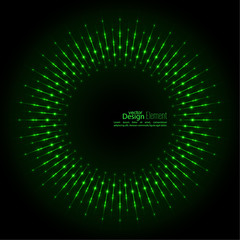 Abstract techno background with rays with glowing particles. Tech design. Lights vector frame. Glowing dots. Round banner of pixels. Geometric Shapes.  green, jade, malachite