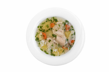 chicken soup traditional Georgian dish white background top view