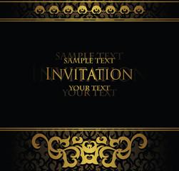 Vintage invitation. Vintage decoration in gold. Original design. Place for text