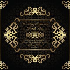 Wedding invitation with frame on seamless background. Modern design