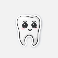 Sticker happy tooth with eyes and blusher