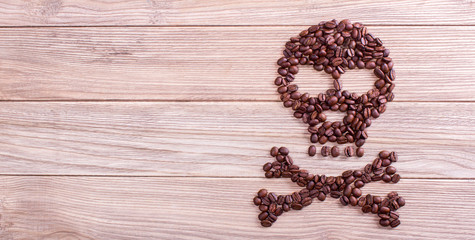 coffee kills, skull and crossbones symbol Wall mural