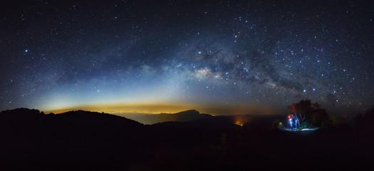 Panorama Milky Way Galaxy at Doi inthanon Chiang mai, Thailand. Long exposure photograph. With grain