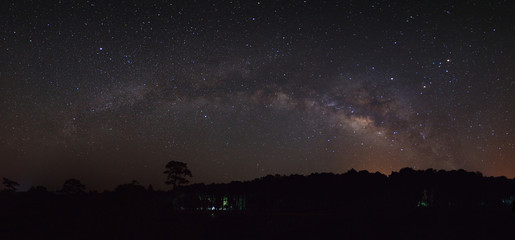 Panorama milky way galaxy. Long exposure photograph.With grain
