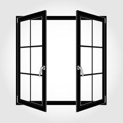 Opened black window icon vector eps 10