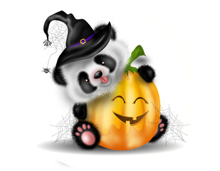 Halloween pumpkin with panda bear