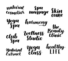 Vector health and beauty care logos or labels. Spa, yoga centers badges. Wellness signs. Hand drawn tags and elements set for organic cosmetics, natural products.