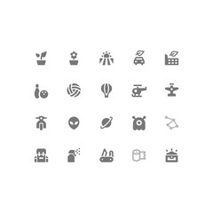 Set of General Related Vector Line Icons. Contains such Icons as Leaf,Bowling,Air Balloon,Network,Sun. Fully Editable. Neatly Done.