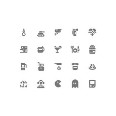 Set of General Related Vector Line Icons. Contains such Icons as Heart,Aierialcableway,Hat,Hamburger,Cocktail. Fully Editable. Neatly Done.