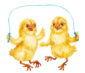 Chicks jumping rope. Easter. Watercolor.