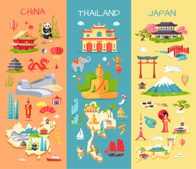 China. Thailand. Japan. Icons of Asian Countries