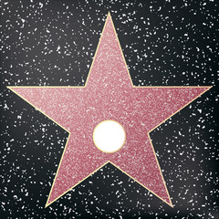 Walk of fame star. Star hollywood. Vector illustration.