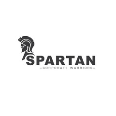 Warrior icon in spartan style. Stylized helmet and soldier silhouette with sample typography. Symbol of strength. EPS 10 vector.
