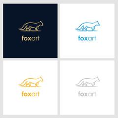 fox line company logo. wild animal logo with minimalist concept