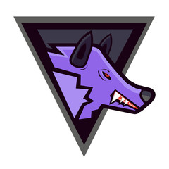 Vector head of enraged wolf in a shield - sports mascot