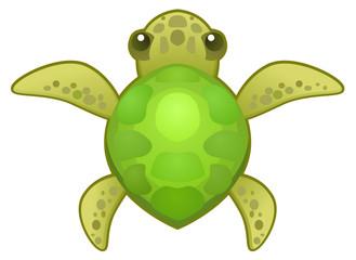 Cartoon small turtle animal, vector illustration, horizontal, isolated