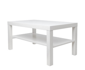 White table. clean table with shelf