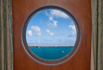Bermuda Coastline seen through a Ship Porthole