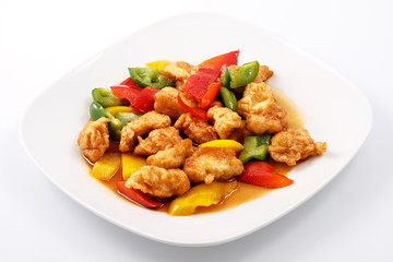 Chicken in Teriyaki sauce, batter, peppers, teriyaki sauce