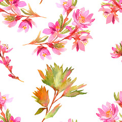 Watercolor tree in blossom seamless pattern