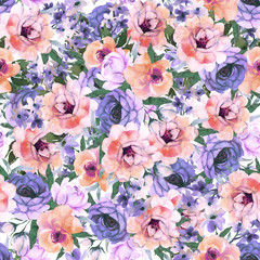 Abstract roses flower watercolor seamless pattern