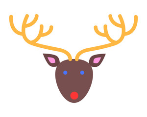 Xmas Deer. Head and Horns. Simple Cartoon Style