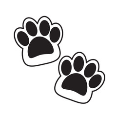 abstract double cat paws vector flat design