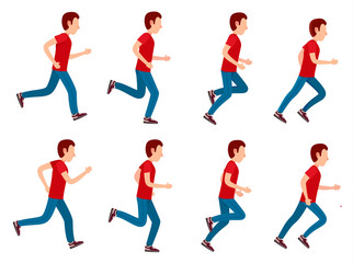 Running Man Animation Sprite Set. 8 Frame Loop.
