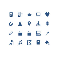 Set of Miscellaneous  Related Vector Icons. Contains such Icons as Heart, Lock, Pin, Music Note, Woofers, Music Player and more. Fully Editable. Neatly Done.