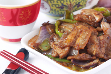 Foto op Canvas Steakhouse Chinese food specialty - twice-cooked pork