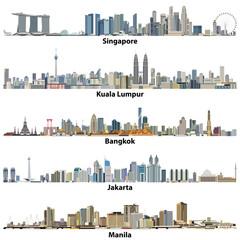 Fototapete - Singapore, Kuala Lumpur, Bangkok, Jakarta and Manila city skylines
