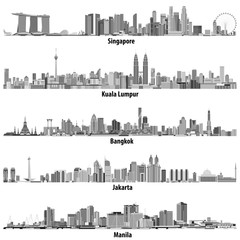 Fototapete - Singapore, Kuala Lumpur, Bangkok, Jakarta and Manila skylines in black and white color palette